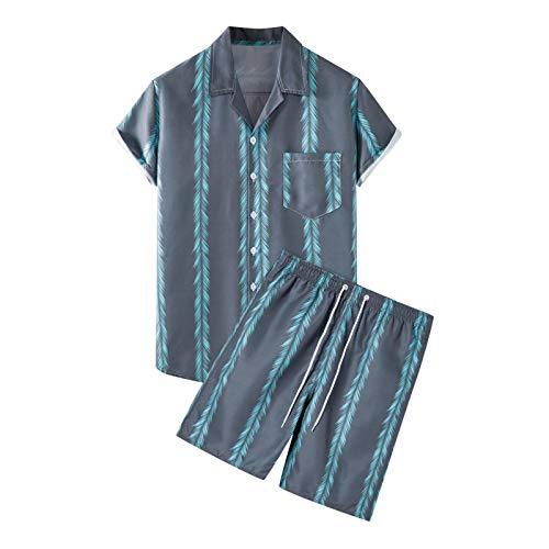 Juego de camisa de manga corta para hombre, diseño de playa con botones, 2 piezas Oufit Hawaiian Aloha Shirt Set