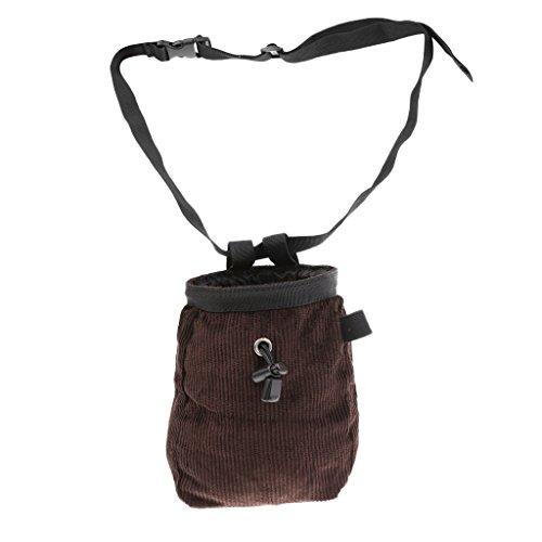 Gazechimp Chalk Bag - Magnesiabeutel mit Bauchgurt (verstellbar Länge) Mehrzweck Bauchtasche zum Klettern und Bouldern Turnen Gewichtheben, Kaffee