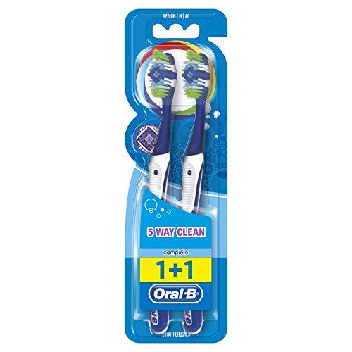 Oral B Complete 5 reinigingszones handtandenborstel, 40 medium, duopack, 2 stuks (verschillende kleuren)