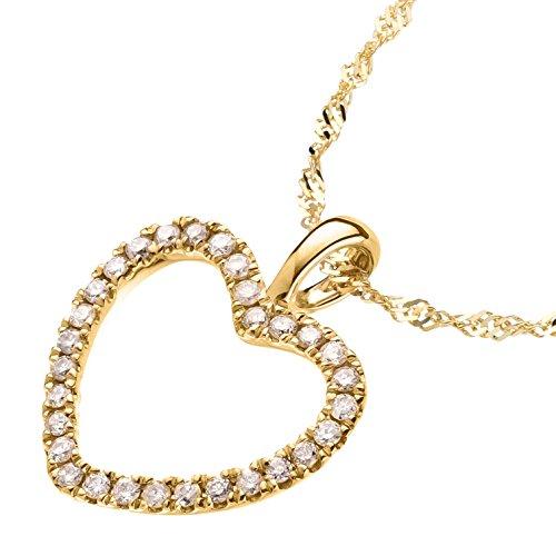 Ardeo Aurum Damen Anhänger mit Kette Collier aus 585 Gold Gelbgold mit 0,15 ct Diamant Brillant Herzanhänger Herz Singapurkette Halskette