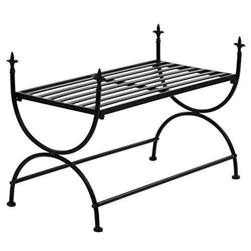 Festnight Bance Jardin en métal Style Vintage Noir 83 x 42 x 55 cm (l x P x H) pour 2-3 Personnes