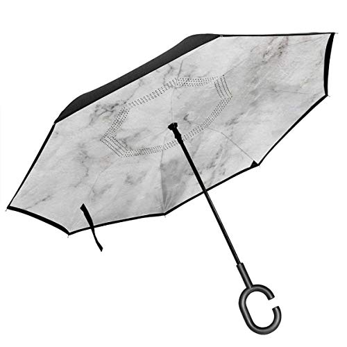 Big Straight Inverted Umbrella Upside Down Umbrella 2 Layer Folding Windproof UV Protection Quick Dry with C Shaped Handle Inside Marble Print for Car Rain Outdoor 8 Skeleton