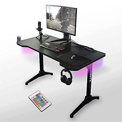 Vonyx DB20 Escritorio Gaming con iluminación LED, tablero con apariencia de carbono de 120 cm de ancho, marco de acero, entradas para cables y gancho para auriculares