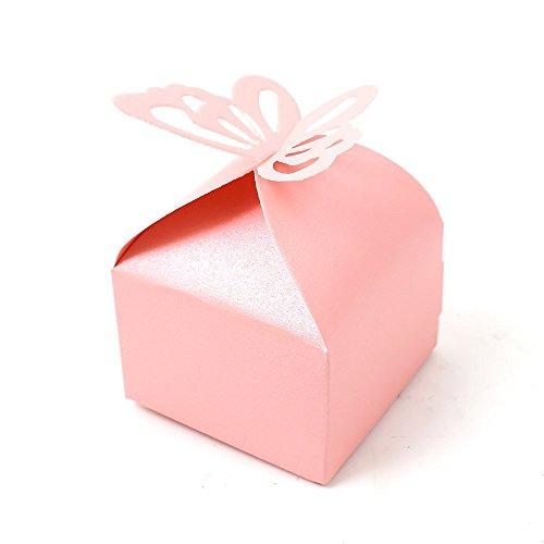 Lot de 100pcs Boîte à Dragées Bonbonnière Motif de Papillon pour Mariage Baptême Décoration Naissance(Rose)