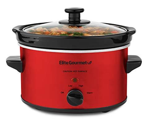 Elite Gourmet Electric Oval Slow Cooker Adjustable Temp, Entrees, Sauces, Stews & Dips, Dishwasher Safe Glass Lid & Crock, 2QT Capacity, Red