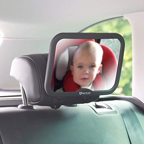 Venture Baby Car Mirror Shatterproof Baby Mirror for Car -Premium Bl