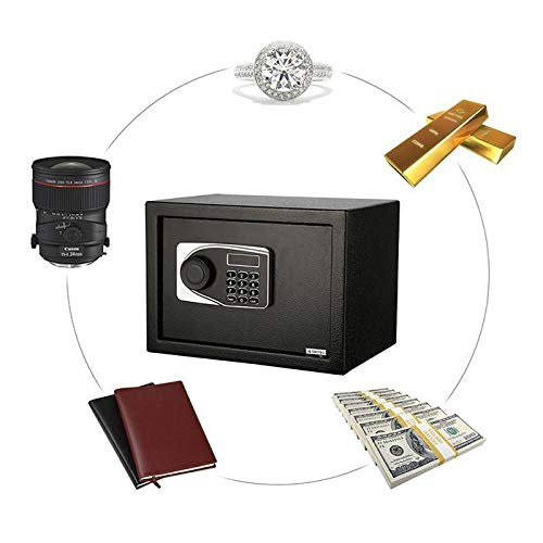 Elektr. Tresor | Safe Box 0,57 Kubikfuß,Boden Wandtresor | Möbeltresor Digital Lock Box Stahltresor Elektronischer Safe mit 2 Schlüssel für Home/Office/Hotel,4 xBatterie(Schwarz)