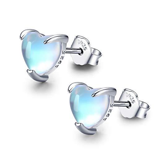 Herz Mondstein Ohrstecker für Damen, 925 Sterling Silber Regenbogen Mondstein Ohrringe Hypoallergen Ohrringe Schmuck Geschenke für Mädchen Frauen