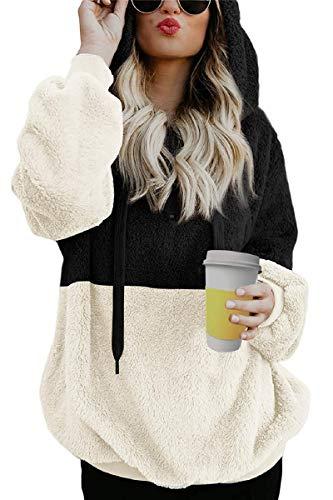 Tuopuda Felpe Donna Autunno Inverno Felpa con Cappuccio Casual Top Maniche Lunghe Pullover Oversize Sweatshirt Hoodie con Tasche Tumblr Ragazza Eleganti Inverno Autunno