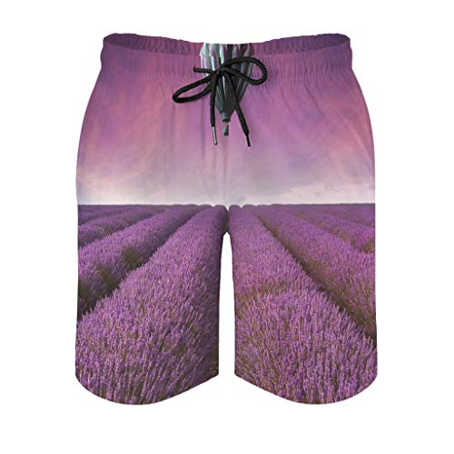 kikomia Men's Beach Shorts Hot Air Balloon Over Lavender Field Print Slim Fit Men's Shorts with Pockets, mens, White, XL