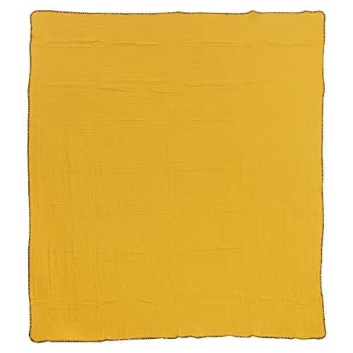 done Wohndecke Nayla doppellagig mit gekettelter Umrandung - weiche Kuscheldecke Tagesdecke in Streifenoptik - 150 x 200 cm - 30°C waschbar, Farbe:Gold