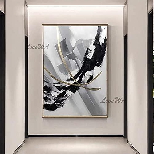 ZNYB Cuadros Vintage Decoracion 100% Pintado a Mano sin Marco Barato en Blanco y Negro Abstracto Lienzo Arte de la Pared Pintura al óleo Decorativa Obra de Arte para la decoración de la Sala de Estar