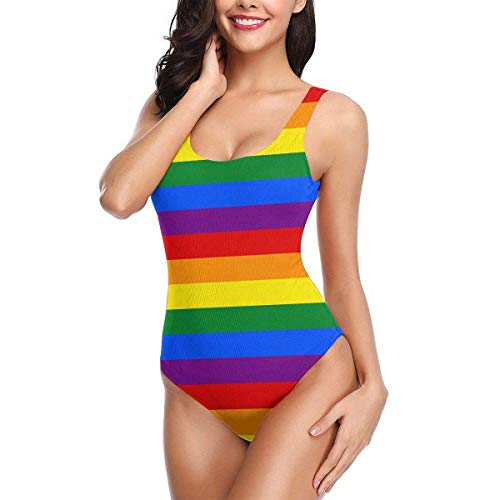 Axige888 Women's One Piece Swimsuit Gay Rainbow Flag Sexy High Cut Low Back Bikini Swimwear Small