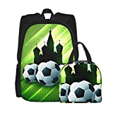 Yaxinduobao Castillo oscuro con mochila de pelota de fútbol Mochila escolar para niños, conjunto de bolsa de almuerzo, conjunto de combinación de mochila de dos piezas