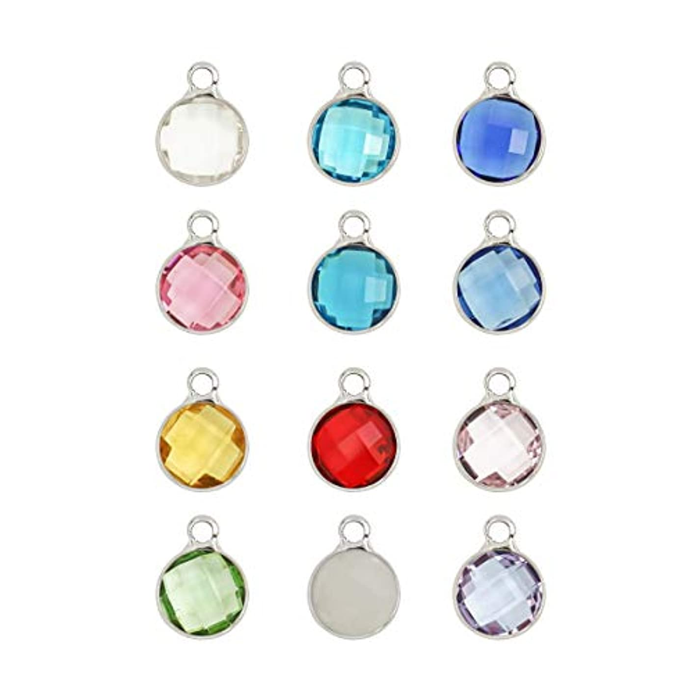 5 sets Mixed Birthstone Charms 10mm Austrian Crystal Beads Sterling Silver Plated (60pcs) for Jewelry Craft Making CCP5-S