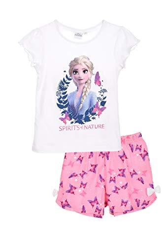 Die Eiskönigin 2 Schlafanzug Pyjama Mädchen (Weiss, Gr. 128)