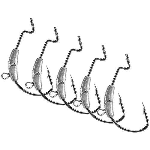 mewmewcat Ami da pesca, accessori da pesca, gancio per pesce, 5 pezzi, Jig Head Barbed Hook Carbon Steel (1,5 g)