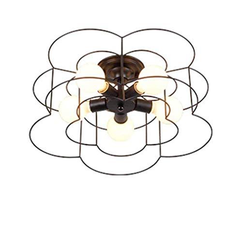BJClight Classic Retro Wheel Lámpara de techo de montaje semi empotrado Lámpara de techo redonda vintage Diseño de anillo de la industria antigua Lámpara de techo decorativa