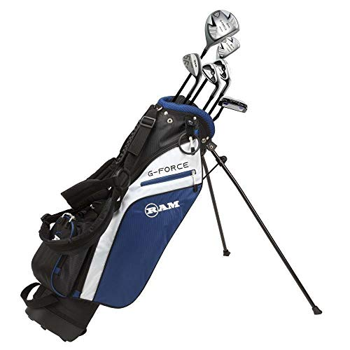 Ram Golf Junior G Force Boys Right Hand Golf Clubs Set with Bag Ages 10 12 9 Pieces Golf Set Ages 7 9
