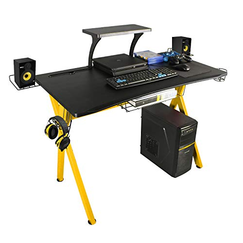 """lazzo 42"""" Gaming Desk,Home Office Desk with Detachable Monitor Stand,Storage Basket,Speaker Holder,Cup Holder,Headphone Hook & Cable Management,Computer Gaming Table, Yellow"""