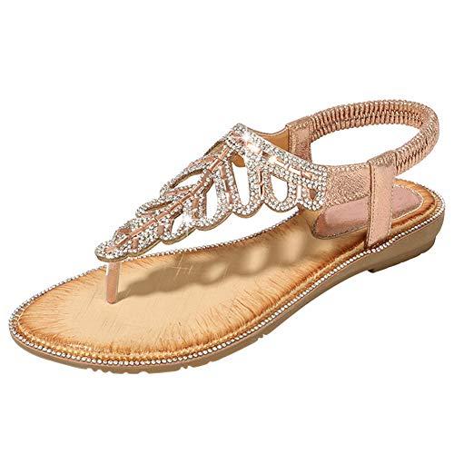 Bigtree Damen Sandalen Sommer Bohemian Flip Flops Strand Thong Mini Wedge Riemchen Sandalen Flach Sandaletten Slip On mit Strass Rosa 39 EU