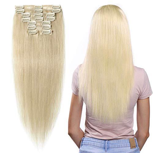 Extensions Echthaar Clip In 100% Remy Echthaar Platinum Blonde Echthaar Haarverlängerung 8 Tressen 18 Clips (35cm-60g)