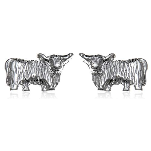 Sterling Silver Highland Cow Earrings with Jewellery Gift Box