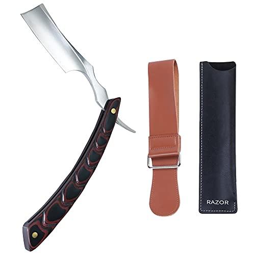 Straight Edge Barber Razor Stainless Steel Blade,Wooden Straight Razor Shaving Kit with Leather Strap for Men-Professional Barber Approved