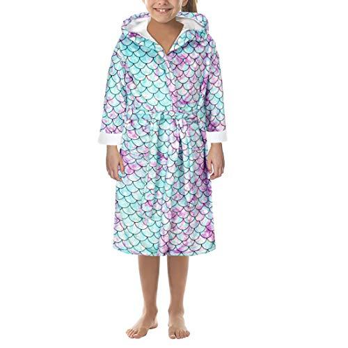 MoneRffi Kinder Bademantel Weiche und bequeme Morgenmantel Kapuze Flanell Koralle Fleece Bademantel Loungewear Nachthemd für Mädchen Jungen(Meerjungfrau,10-12 Jahre)