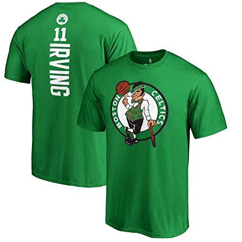 HS-FWJ.HW Boston Celtics Kyrie Irving NO.11 Reine Baumwolle Basketball kurzer Ärmel Sport-T-Shirt läuft atmungsaktiv Fitness-Trainingsanzug,Grün,XXL