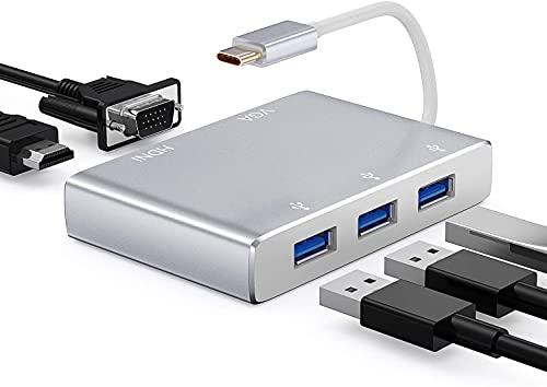 USB Type C VGA HDMI Adapter, HuiHeng 5 in 1 HDMI USB C Video Adapter,USB 3.0 4K HD 1080P Receiver, Multiport Konverter für MacBookPro,Chromebook, Samsung Galaxy, Dell XPS