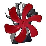 MagiDeal Ventilador de Chimenea Redondo de 6 aspas Ventilador de Estufa con Calor para leña/Quemador de leña/Chimenea Ventilador de distribución de Calor - Rojo