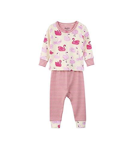 Hatley Mini Organic Cotton Long Sleeve Ensemble de Pyjama, Ecru (Dancing Swans 100), 6-9 Mois Bébé Fille