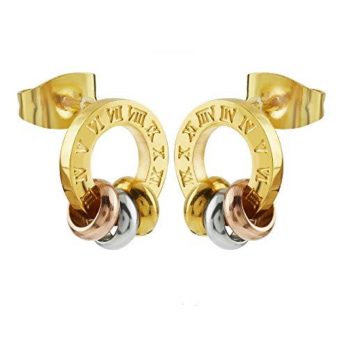 Dames oorstekers oorring cirkel roestvrij staal goud zilver roodgoud stud met Romeinse cijfers ringen horloge 10 mm stijldoel A13