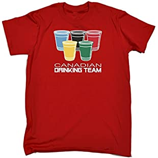 123t Men's Canadian Drinking Team Glasses Funny Party Sports Pub Beer Humour T-Shirt:Animewalk