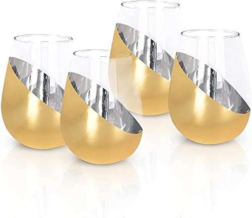 RRUUGK Copa de Vino 15 onzas, Copa de Vino de Cristal Recubierto de Metal, Flauta de Champagne de Plata Inclinada Moderna sin Mango (Color : Gold, Size : Pack 4)