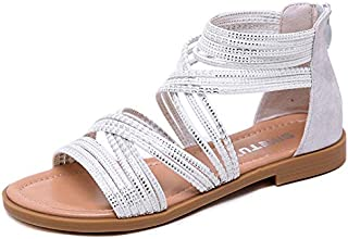 CHENDX New Women's Sandals Sequins Tie Winding Female Sandals Large Size Rubber Sole Comfortable Slippers