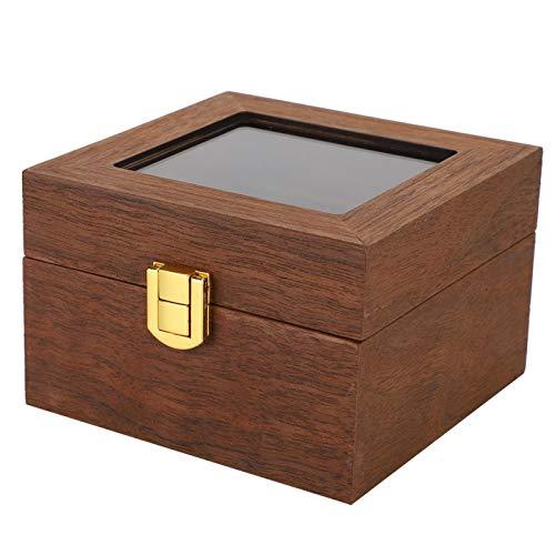 Vitrina Caja de reloj Bisagra de metal de 2 ranuras Accesorios de hardware de tacto natural Color nogal negro Larga vida útil Cerradura de hebilla cuadrada de franela especial