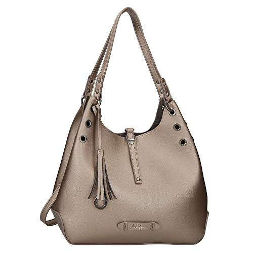 Pepe Jeans Angelica Bolso Hobo Gris 34x28x16 cms Piel Sintética
