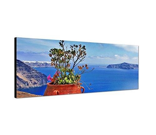 Best for Home muurschildering op canvas als panorama in 120x40cm Santorini bloempot bloemen zee blikken hemel