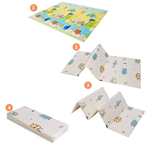 Lowest Prices! Baby Foldable Play Mat, Reversible Folding Baby Play Mats, Crawling Mat for Baby Boy ...