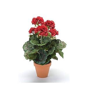 Artplants Set 8 x Geranio Artificial MASALIA en Maceta de Terracota, roja, 35cm – Geranio de plástico/Flor Falsa