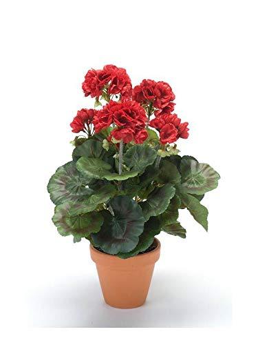 artplants.de Geranio sintético MASALIA en Maceta de Terracota, roja, 35cm - Geranio Artificial - Flores de plástico