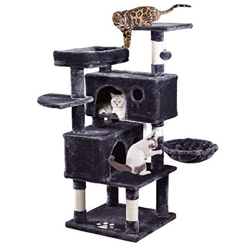 JISSBON Katzenkratzbaum, Kratzbaum groß 124 cm hoch, Kletterbaum mit Haus, Aussichtsplattform, Katzenhängematte,Plüsch Liegematte, Geeignet für Größe, Kleine Katzen