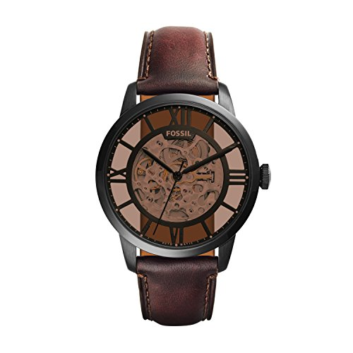 Fossil Men's Townsman Auto Automatic Leather Three-Hand Watch, Color: Black, Cognac (Model: ME3098)