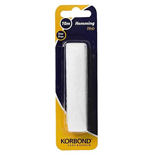 Korbond Cinta 10m x 2cm para dobladillos y Manualidades, INCONSÚTIL e Ideal para dobladillar Pantalones de Trabajo, emblemas o Uniformes Escolares, White