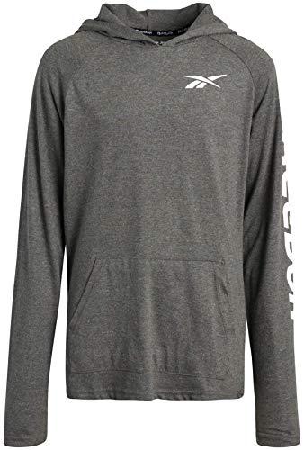 Reebok Boys Lightweight Long Sleeve Pullover Hooded T-Shirt (Asphalt Logo, Medium)
