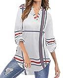 YOINS Camicia Donna Elegante Camicetta Donna Manica Lunga Bluse Camicie a Quadri Blusa Scollo V Casuale Bianco S