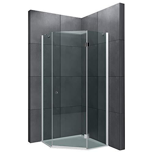 SENSO Fünfeck Duschkabine 100x100 mit Antikalk | Duschabtrennung aus Einscheibensicherheitsglas ESG | EasyClean Echtglas, Duschwand | komplett Dusche TÜV geprüft