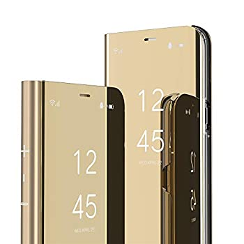 Samsung Galaxy Note 9 Case Cover EMAXELER Stylish Mirror Plating Flip Full Body Protective Reflection Ultra Thin Hard Anti-Scratch Shockproof Frame for Samsung Note 9 Mirror Gold